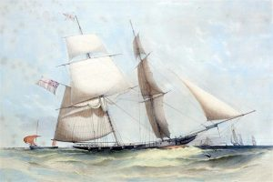 Ben Boyd's Wanderer, painted by Oswald Brierly. From Wander Replica Project website.