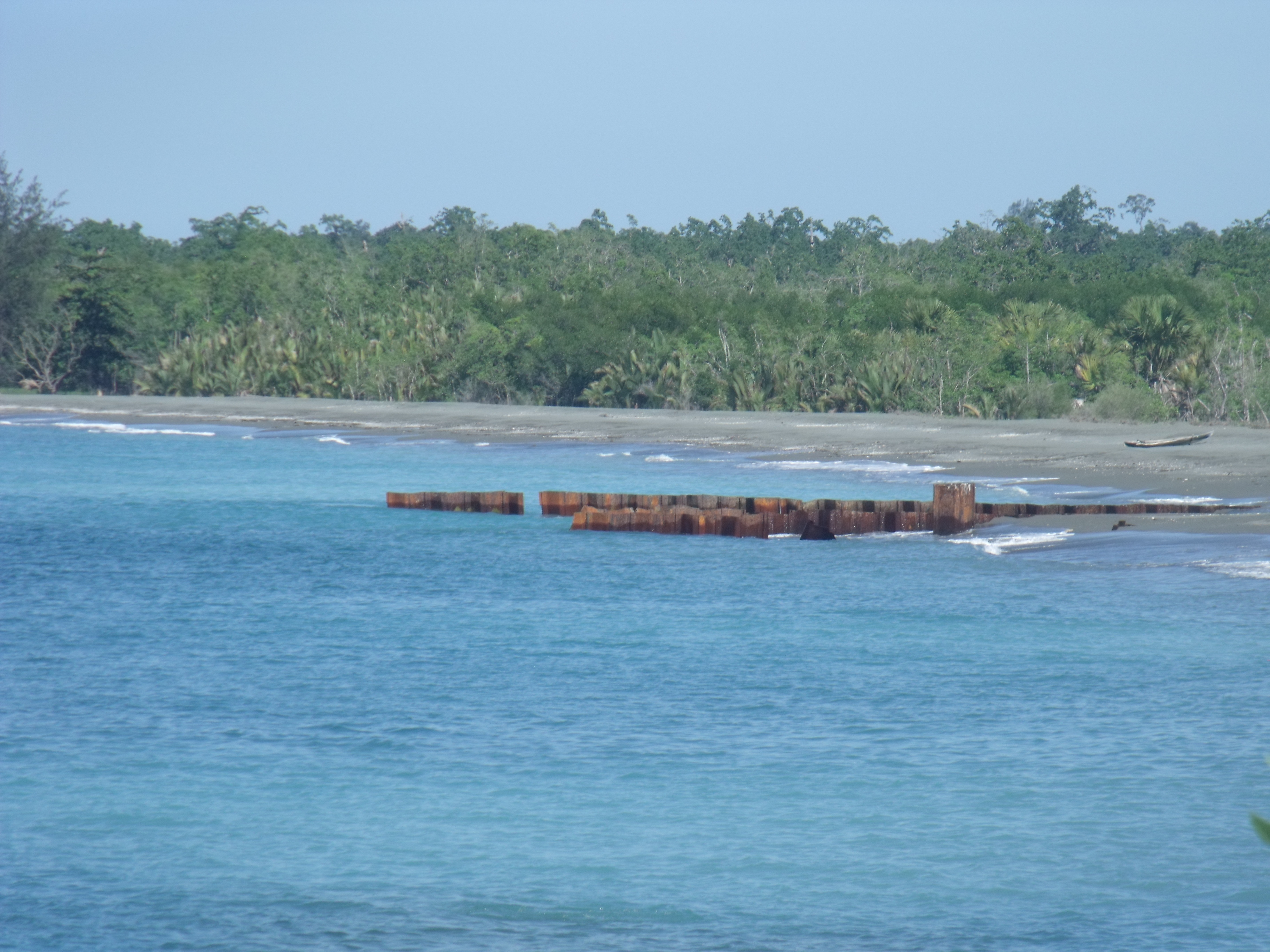 The remains of HMAS Voyager at Betano. Photo: Tim Holt
