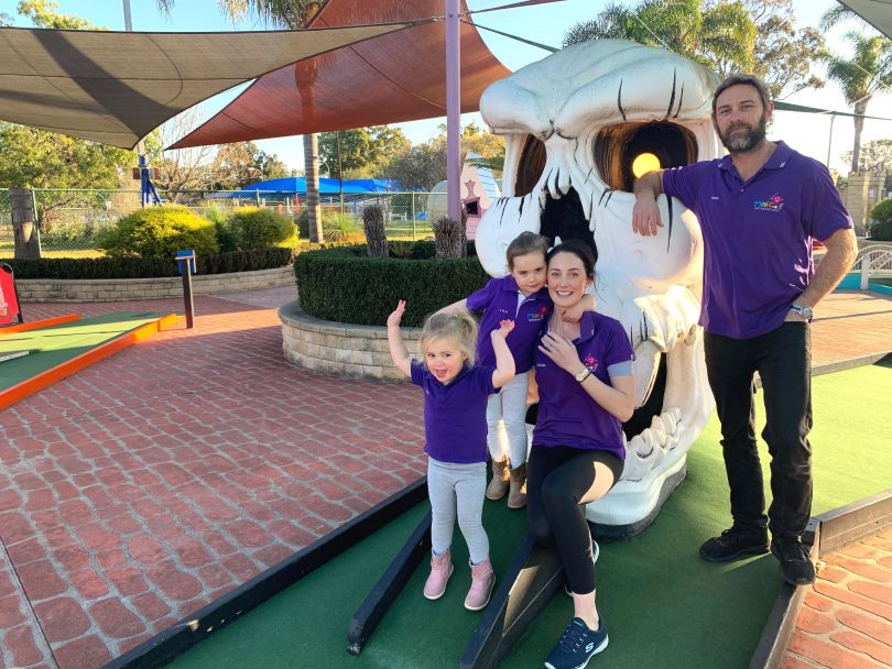 The Heron family at the Batemans Bay Mini Golf Centre