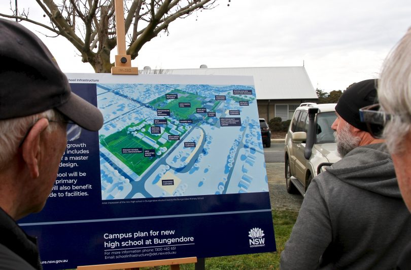 Bungendore residents survey the proposal for a high school in the town.
