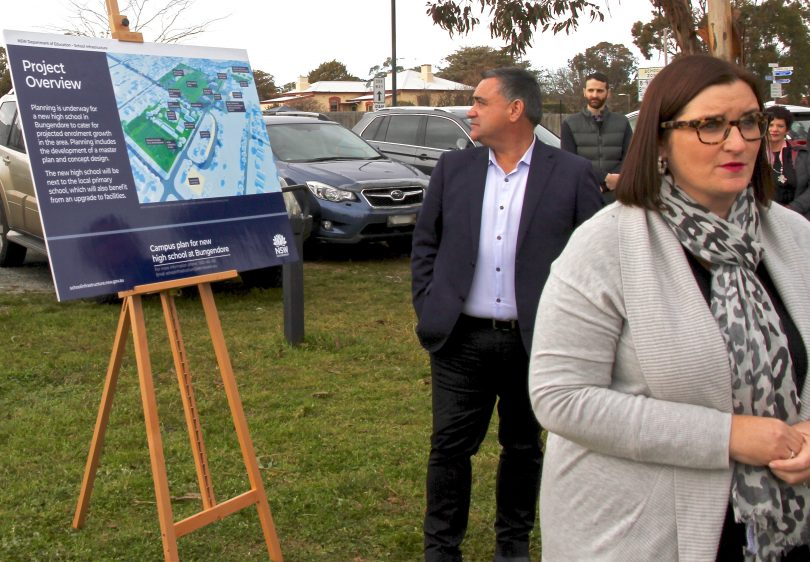 Member for Monaro and Deputy Premier John Barilaro with NSW Minister for Education and Early Childhood Learning Sarah Mitchell at the site of the new Bungendore High School.