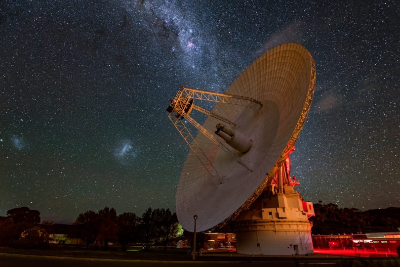 The Canberra Deep Space Communication Complex at night showing the Milky Way.