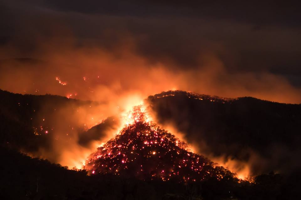 Bemboka Peak burning at 1am on August 21. Photo Helmut Eder.