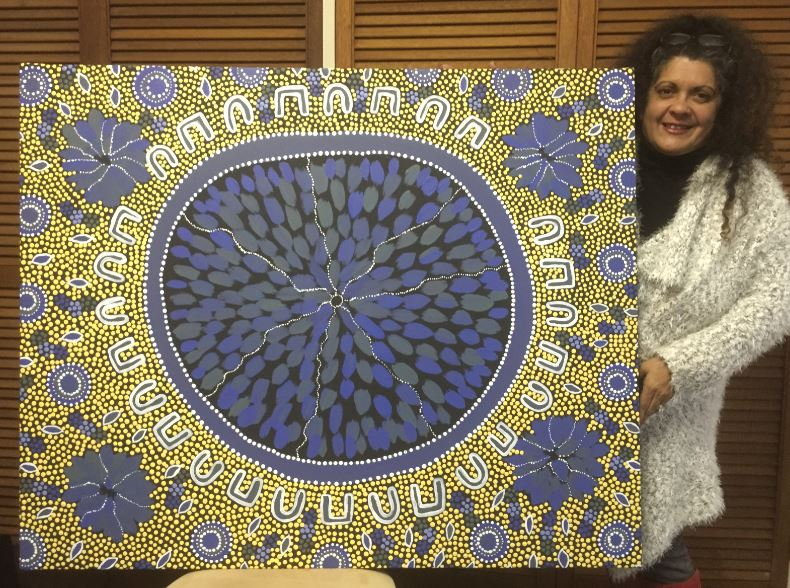 Local Aboriginal artist Merryn Apma with her MND inspired artwork. Photo: Supplied.