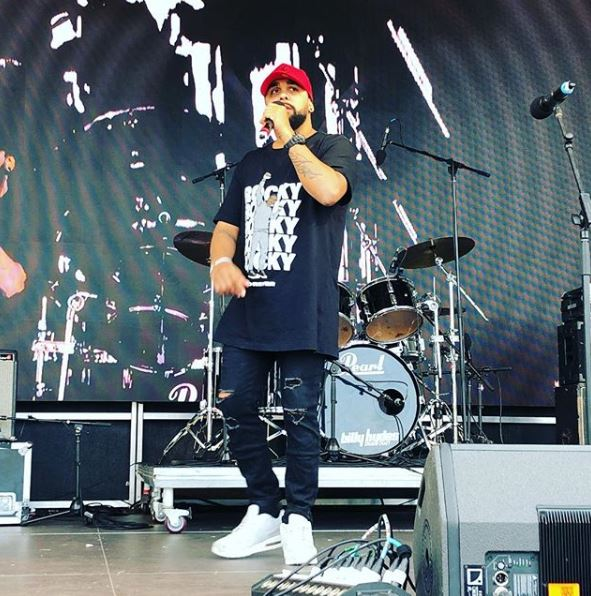 Wallaga Lake hip hop artist Gabadoo, centre stage at Giiyong. Photo: Giiying Instagram