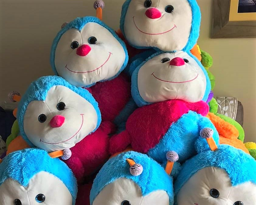 A pile of the popular Cuddlepillars, awaiting their new homes.