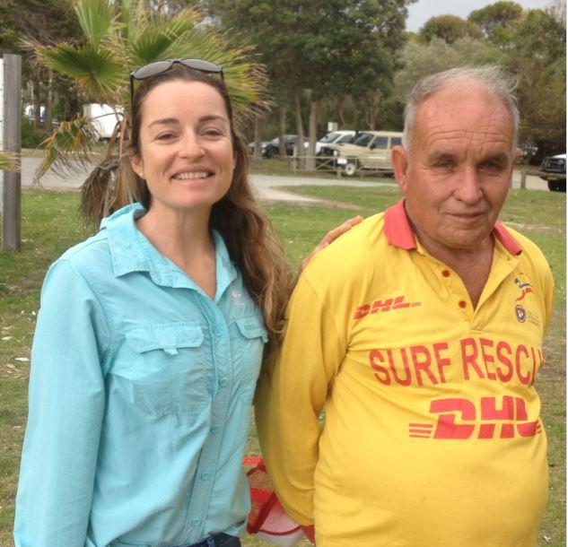 DPI community engagement officer Kim Wolfenden and longtime Pambula surf lifesaver Jim McGrath,. Photo: DPI.