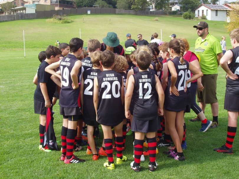The Bega Bombers Australian Football Club says family involvement has been key to their growth. Photo: Bega Bombers Junior Facebook.