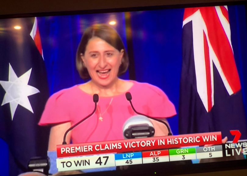 Gladys Berejiklian claiming victory as the first elected female Premier of NSW. Photo: Ian Campbell.