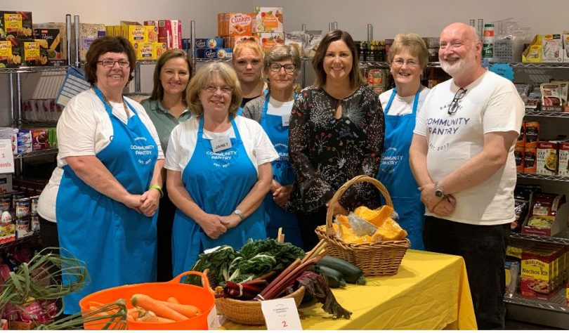 Mayor Cr Kristy McBain and Waste Management Coordinator Joley Vidau with The Pantry Volunteers, (from left) Christine Welsh, Janet Kieltyka, Angela Fulton, Yvonne Burman, Sue Rootsey and Peter Buggy. Photo: Supplied.