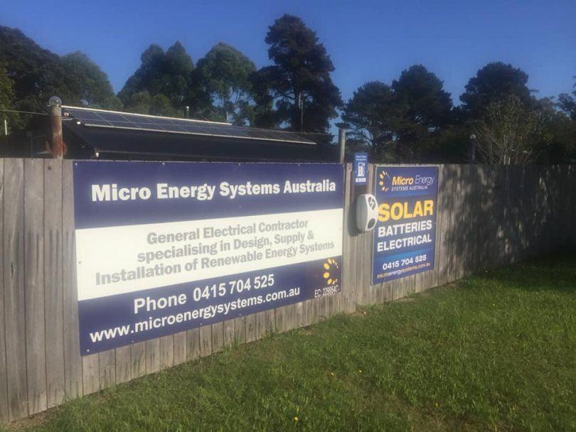 A new EV charge point has been installed at 147 Princes Highway, Bodalla. To access it call Steve on 0415 704 525. Photo: Micro Energy Systems Australia Facebook.