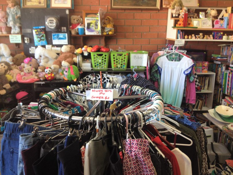 Tura Beach op-shop coordinator Corienne Nicholson says the shop has been overrun with donations for the last twelve months. Picture: provided.