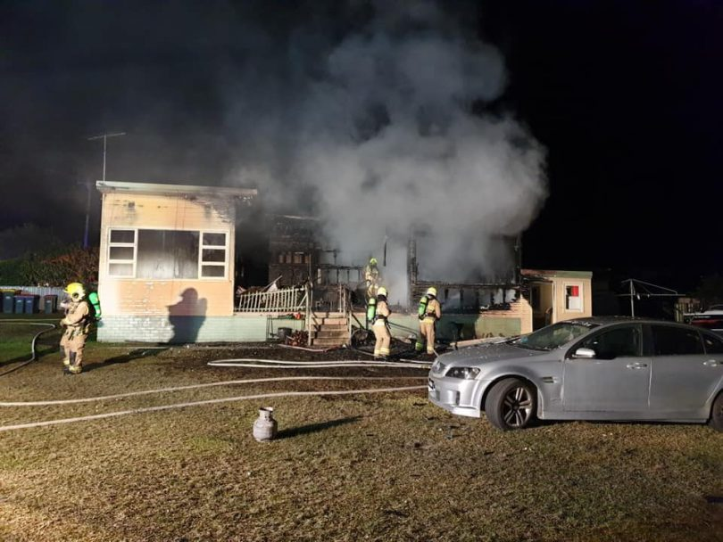 Fire destroyed the building on Peter Cresent, Batehaven. Photo: Fire and Rescue NSW Station 384 Moruya.