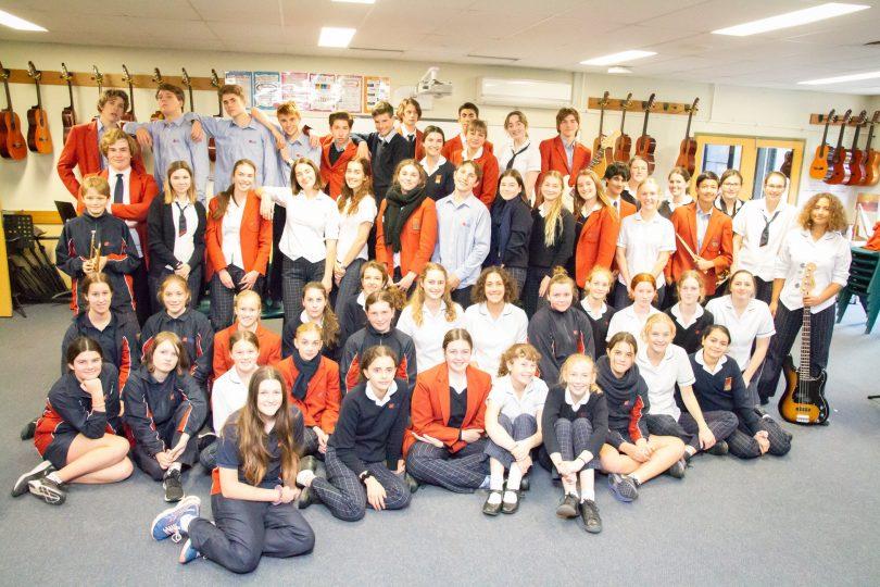Cast and crew of 'Grease JR' at Lumen Christi Catholic College, Pambula. Photo: Lumen Christi Catholic College.