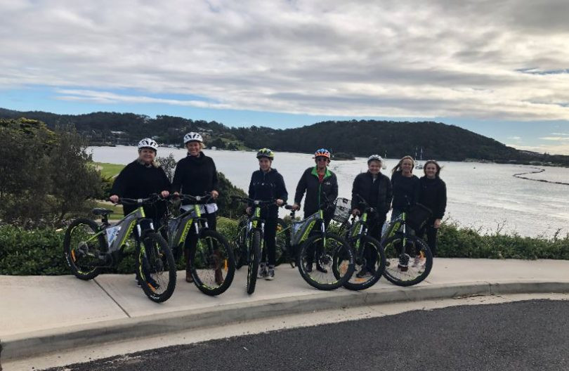 An electric bicycle tour of Narooma was just one of the local tourism experiences showcased on the recent famil tour. Pictured is Deb Meers from Abercrombie and Kent's cruise agency AKORN, Natalie Godward from the Port Authority of NSW, AKORN work experience student Imogen Webster, Claire Nuthall from Abercrombie and Kent's cruise agency AKORN, Eurobodalla Council's Tourism Manager Karen Dempster and Southbound Escapes' Chloe Mulder and Corallee Vimpani. Photo: ESC.