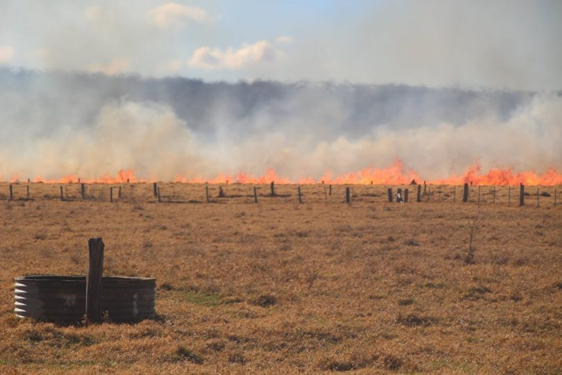 The grass fire near Moruya was extinguished on 13th July. Photo: Alex Rea.