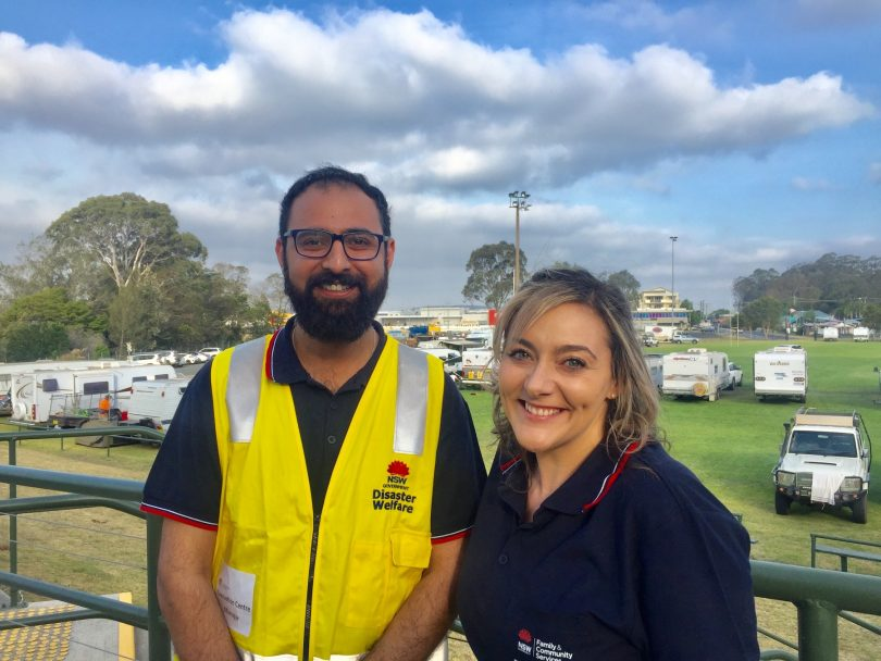 Evacuation Centre Manager Vinnie Anand and colleague Camille Fenech