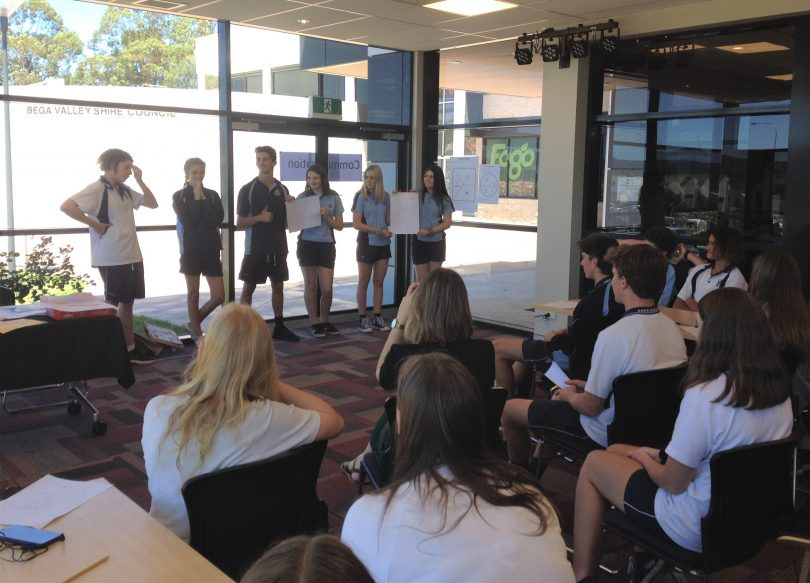 Students pitch their ideas to each other at yesterday's event, hosted by the University of Wollongong's Innovation Hub Bega. Photo: Elka Wood.