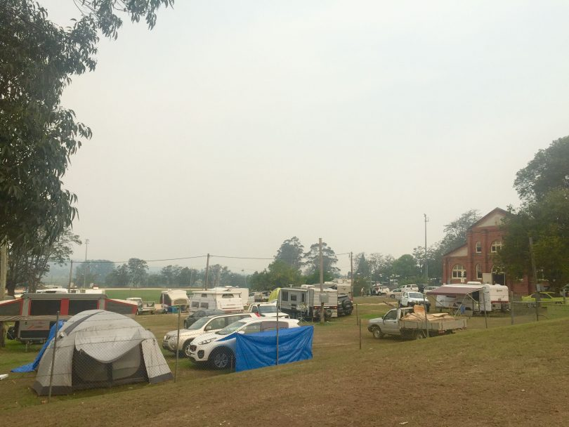Tents for bushfire evacuees at Bega Showground.