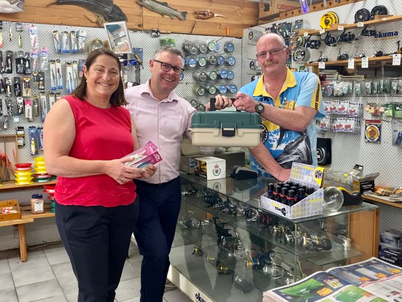 Member for Gilmore Fiona Phillips with local business owners in Batemans Bay fishing shop.