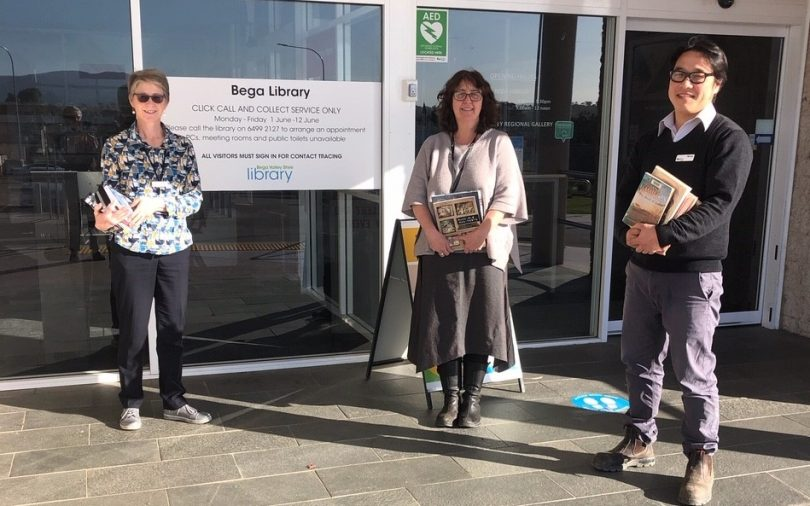 From left: Linda Albertson, Megan Jordan-Jones and Myoung Yi standing outside Bega Library.