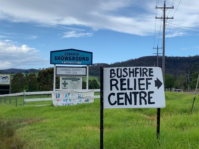 Cobargo Bushfire Relief Centre sign near Cobargo Showground.