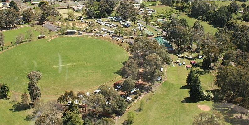 Aerial view of Batlow Oval.