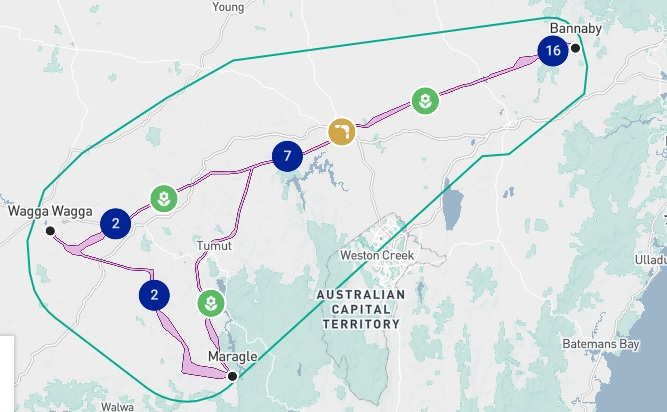 The proposed route for TransGrid's HumeLink.