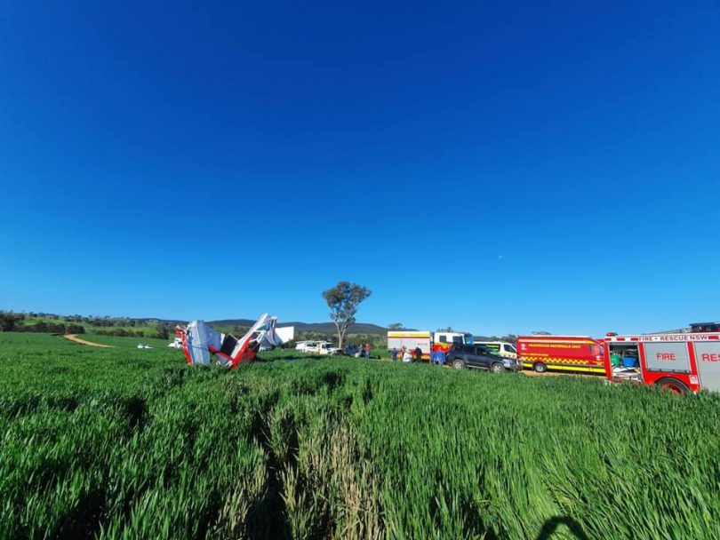 Wreckage of the light plane crash in a Cootamundra paddock.