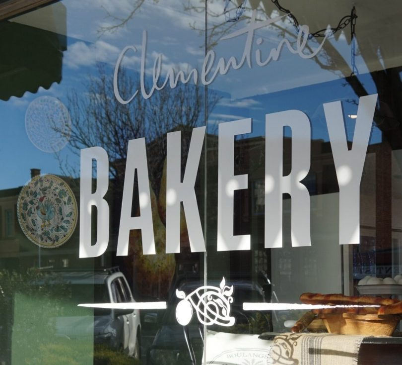 Sign on window at Clementine Bakery.