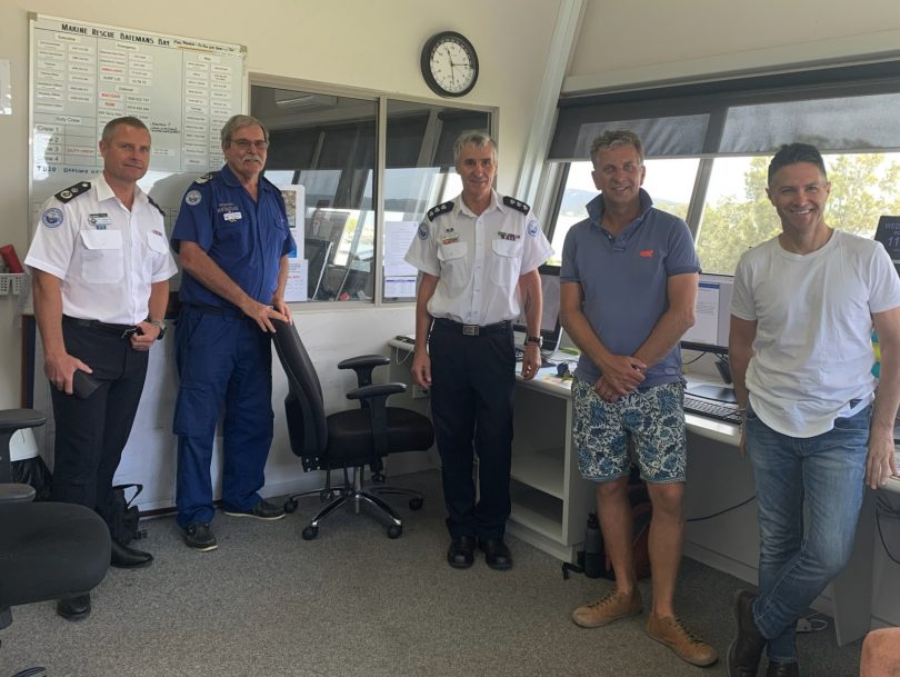 Alex Barrell, Glenn Felkin, Richard Blundell, Andrew Constance and Victor Dominello at Marine Rescue Batemans Bay.
