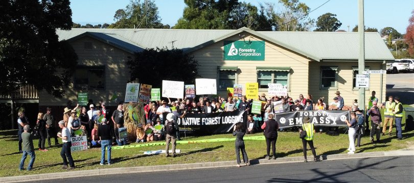 Protesters outside the Forestry Corporation of NSW office in Batemans Bay