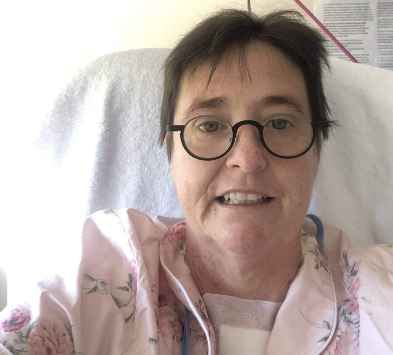 Leanne in hospital bed after heart transplant operation