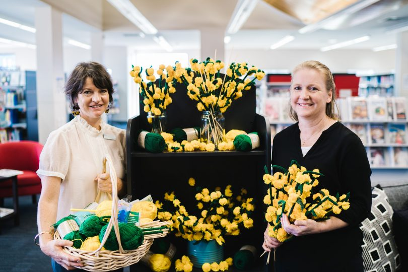 Mary Castrisios and Nicola Bath with knitted wattle branches