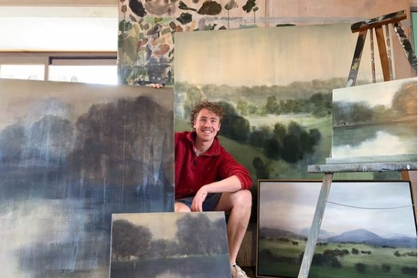 Harry Martin with artworks